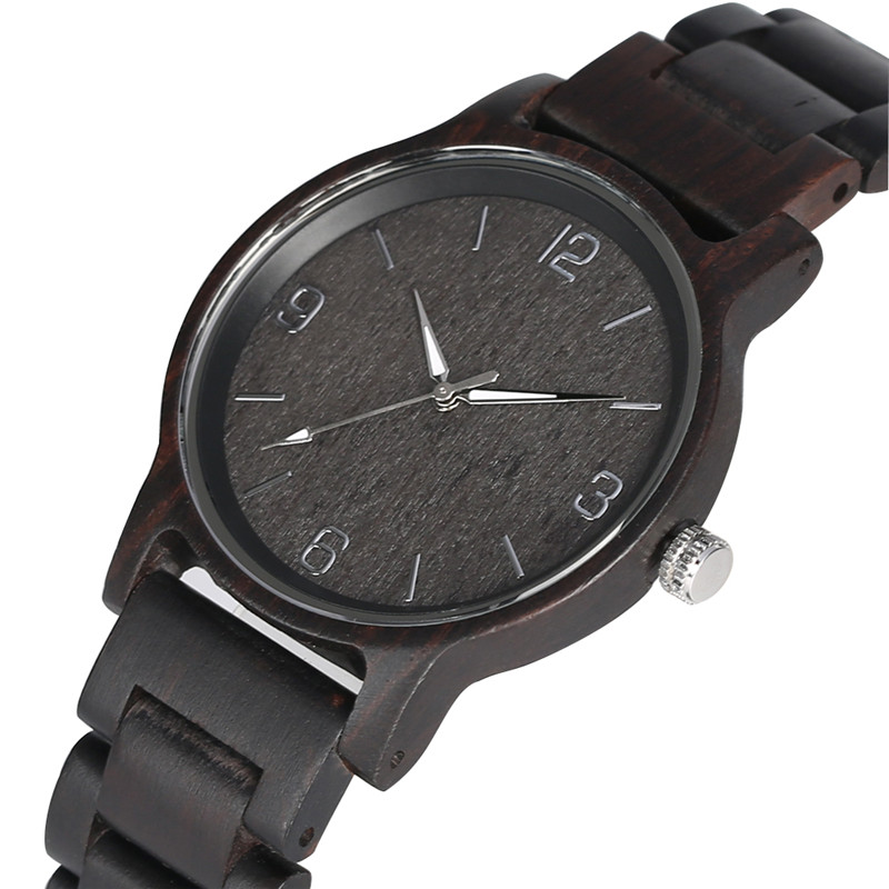 Natural Ebony  Luminous Pointers Wood Watch For Women Men All Wooden Quartz Watch Movement Casual Hands Wooden Wristwatch Clock