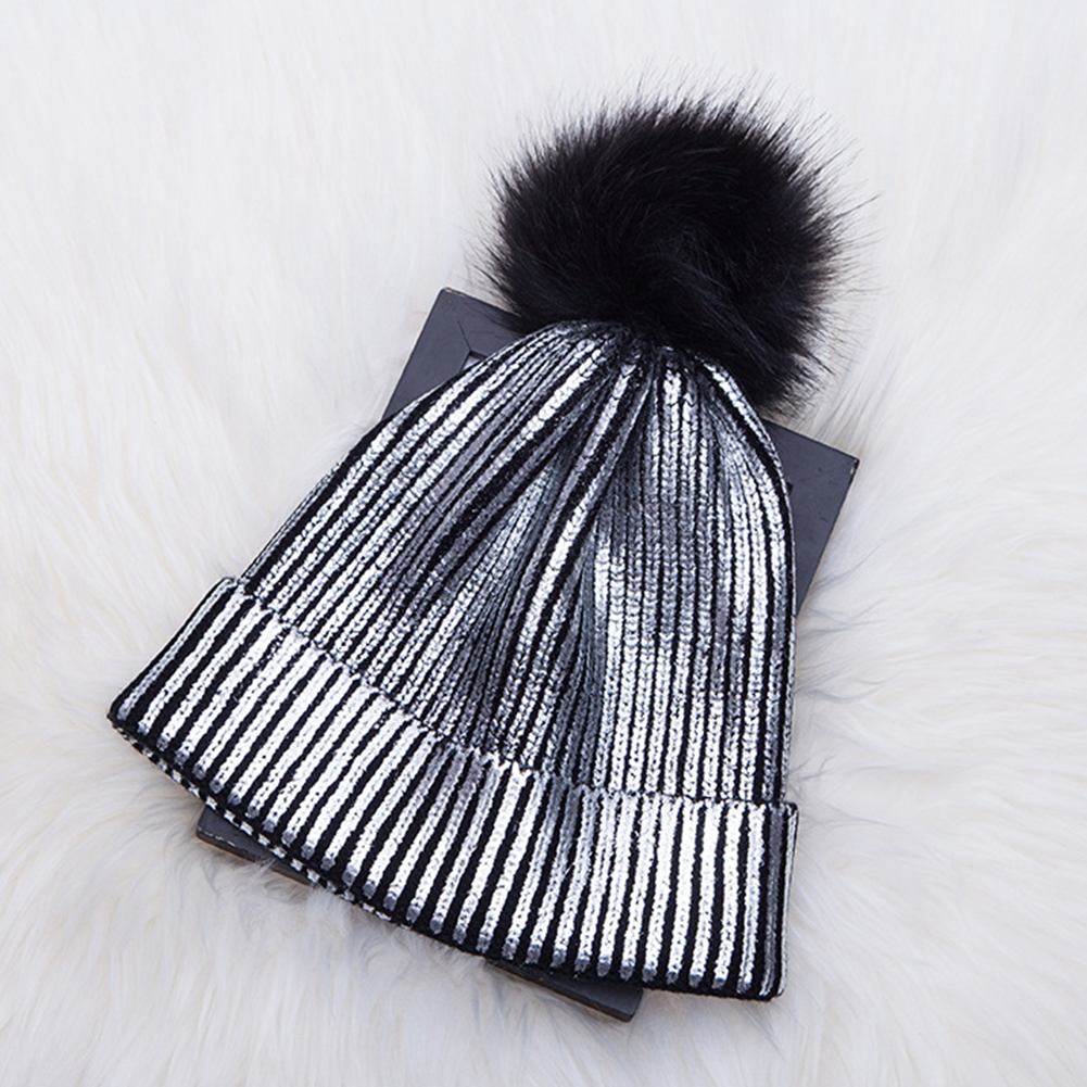 Hair Ball Warm Knitted Metallic Shiny Girl Autumn Winter Soft Crochet Cute Pompom Cap Beanie Windproof Solid Women Hats