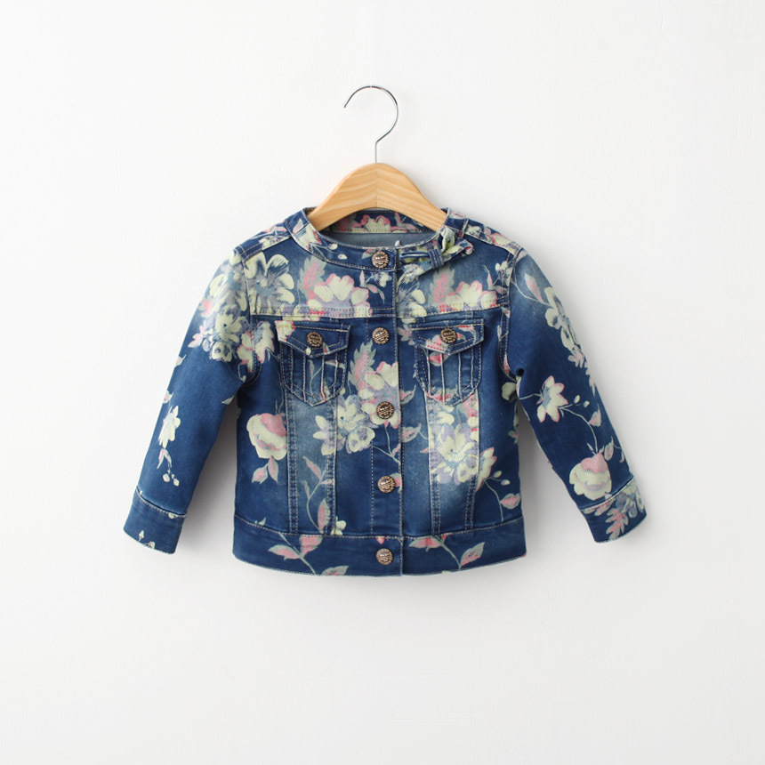 Kids Long-sleeves Denim Jackets For Girl Cute Flower Baby Girls Denim Jacket Coat Spring Autumn Fashion 2-8Y Girls Clothes