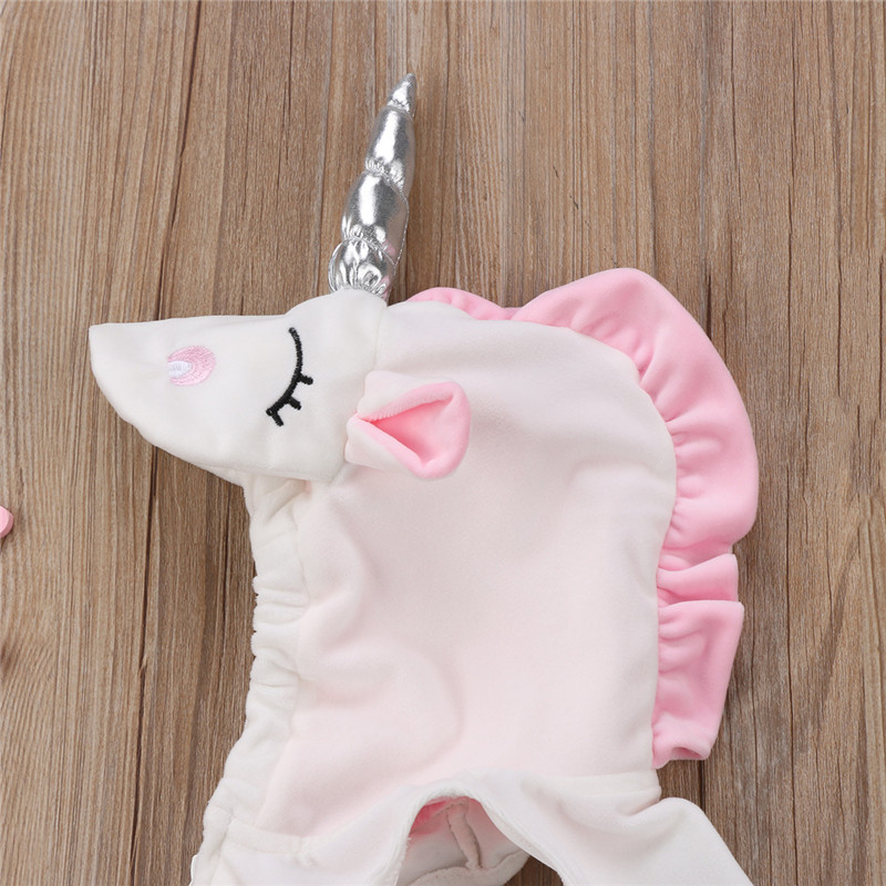 61940d84b417 Cute Costume Newborn Baby Girls Cartoon Unicorn Sleeveless Zipper ...