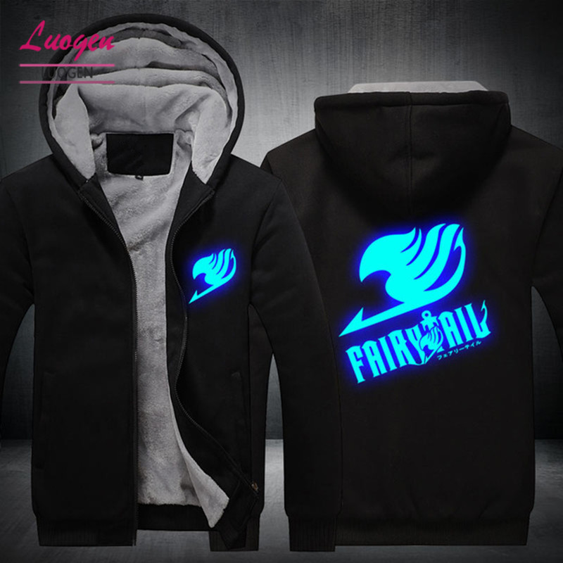 USA SIZE Fairy Tail Printed Luminous Glow Jackets Winter Fleece Thicken Men's Hoodies Sweatshirts Zipper Hoody Coats Clothings