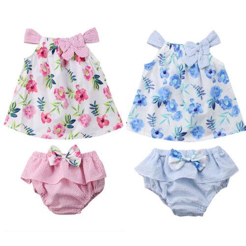От 0 до 3 лет Pudcoco 2 шт. одежда для маленьких девочек с бантом цветочный сарафан топы + шорты комплект одежды