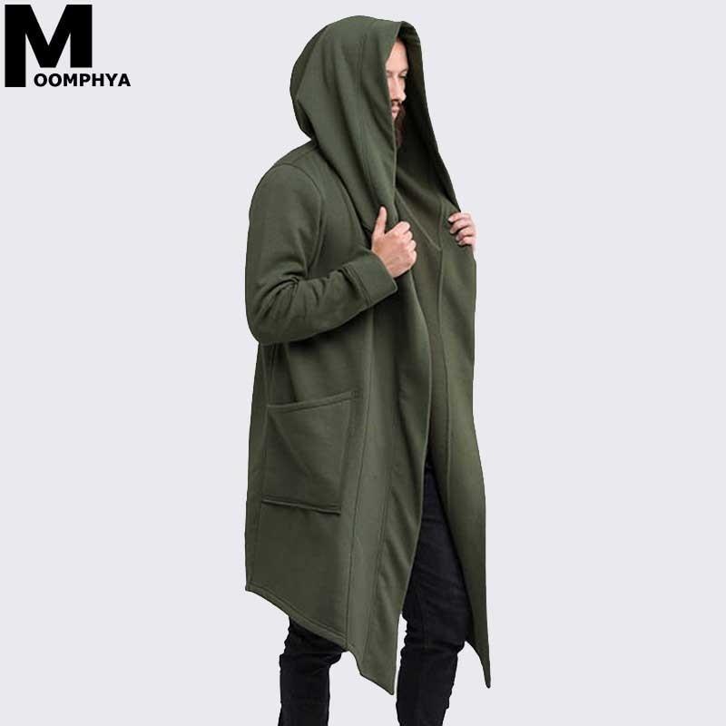 Moomphya Mantle Streetwear Hoodie Long Male Black mens Hooded Cloak Hip Hop Longline Sweatshirt Sudadera Hombre Cardigan hoodies
