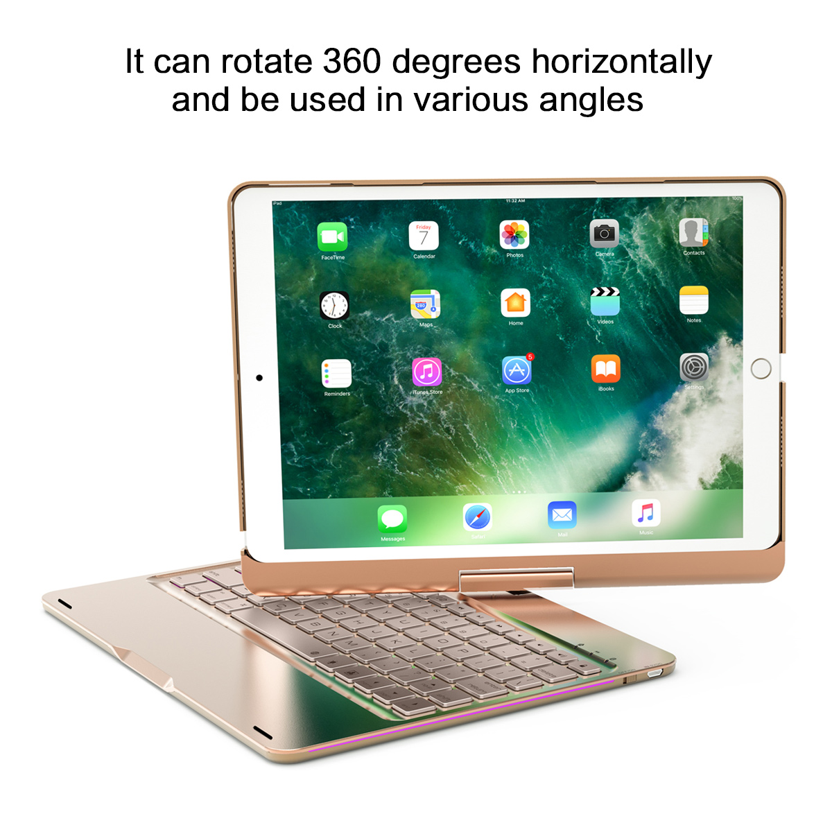 For iPad Air 3 2019 Case 360 Degrees Rotate Design Breathing Lamp USA Bluetooth Keyboard Flip Stand Cover For iPad Pro 10.5 Case