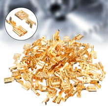 100pcs Brass Crimp Terminal Cable Lugs Cable Plug 6.3mm Uninsulated Blank 0.5-1.5mm Blade Receptacle Spade Terminal Connector mr j2tbl2m terminal cable