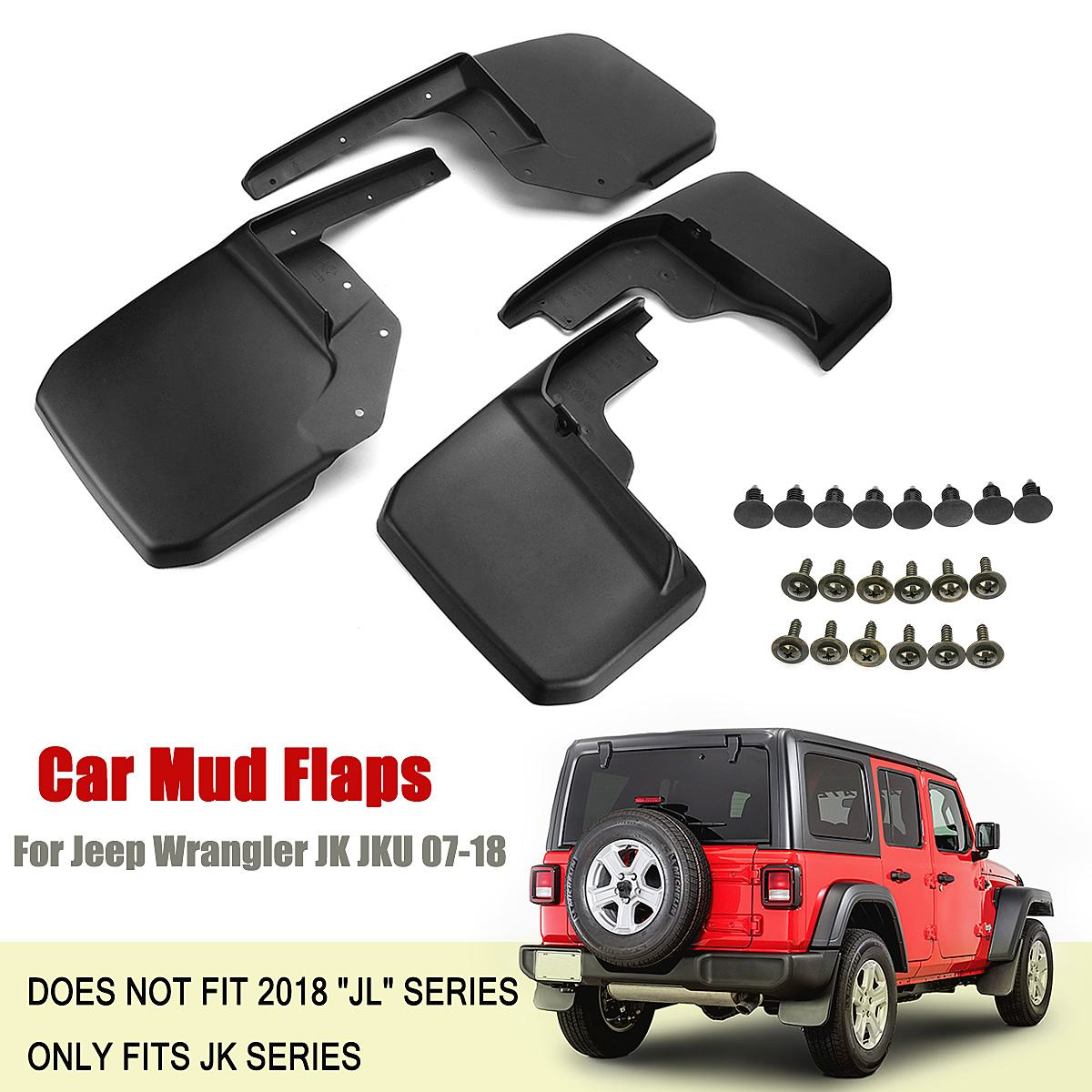 Car Mud Flaps For Jeep for Wrangler JK JKU 2007 2018 Front Rear Splash Guards For