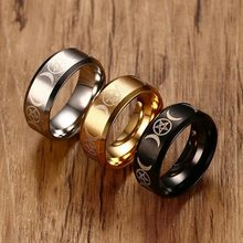 Vnox Triple Goddess Ring for Men 8mm Stainless Steel Star & Moon Alliance Classic Casual Male Band Jewelry Size 7 8 9 10 11 12(China)