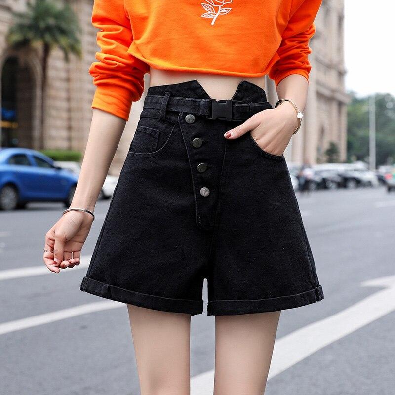 Loyalget 2019 Summer Loose Women Jeans Shorts Sashes High Waist Plus Size Black Denim Shorts Pockets Female Shorts
