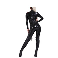 New 100% Latex Rubber Full body Women Black Catsuit Tight Bodysuit Suit Size XXS XXL
