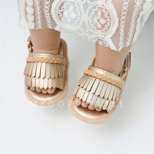 Newborn Baby Girl Summer Sandals Anti slip Prewalker Kid Soft Sole Crib Shoes Summer Casual Fashion Beach Tassel Sandals in Sandals Clogs from Mother Kids