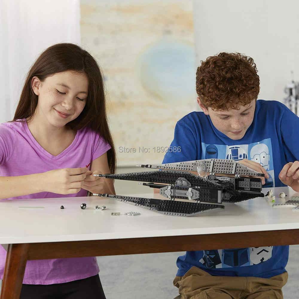 648 шт. новый совместимый LegoINGlys Star Wars Episode VII Kylo Ren's Tie Fighter 75179 Строительный набор кубиков игрушки для детей подарок