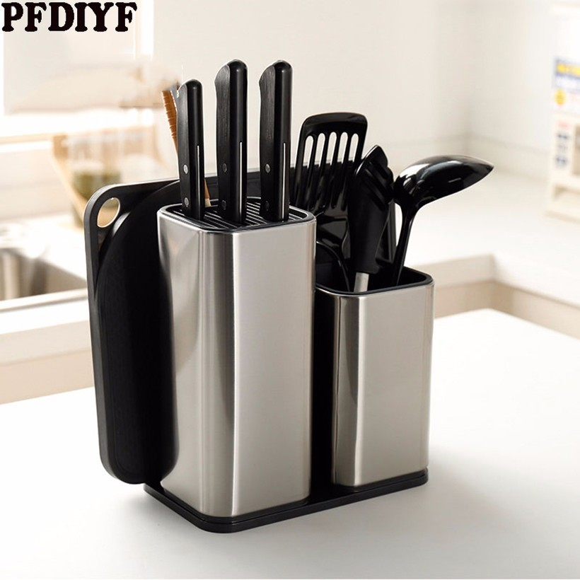 High End Knife Stand Holder For Kitchen Knife Stainless Steel Cooking Knife Holder Stand Block Household Kitchen Accessories