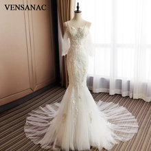 VENSANAC Beading Sweetheart Lace Flowers Appliques Mermaid Wedding Dresses Spaghetti Straps Court Train Backless Bridal Gowns