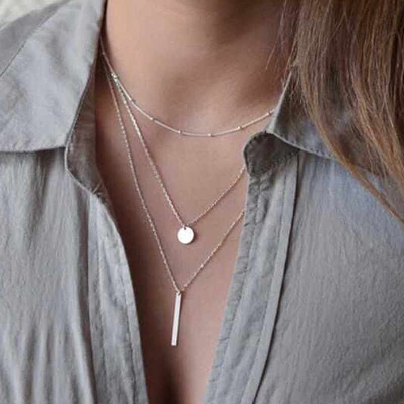 Tassel Gold Pendant Necklace Women Layered Choker Necklaces Moon Silver Chain Necklace For Women Party Jewelry Rose Necklaces