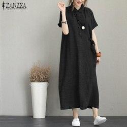 2021 vestido de verão das mulheres zanzea longo maxi vestido de verão senhoras sólido lapela botão bolsos vestidos vintage elegante camisa longa robe 5xl