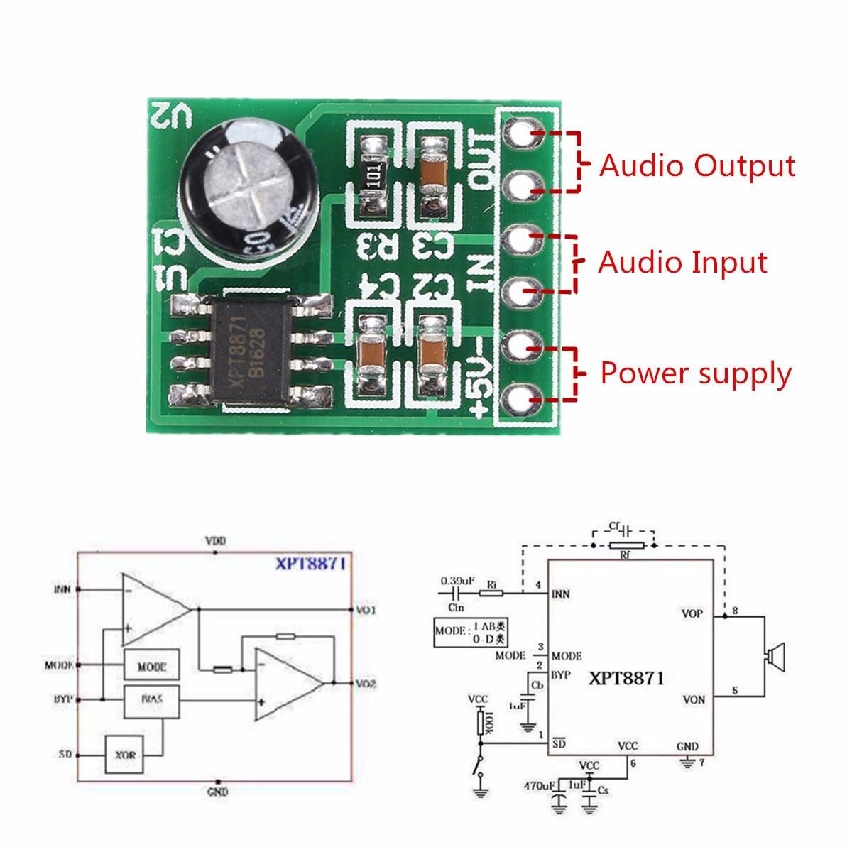 CLIATE Mini Single Channel Mono Digital Amplifier Module Digital Audio Amplifier Board Sound Track DC 5V 1A  5W