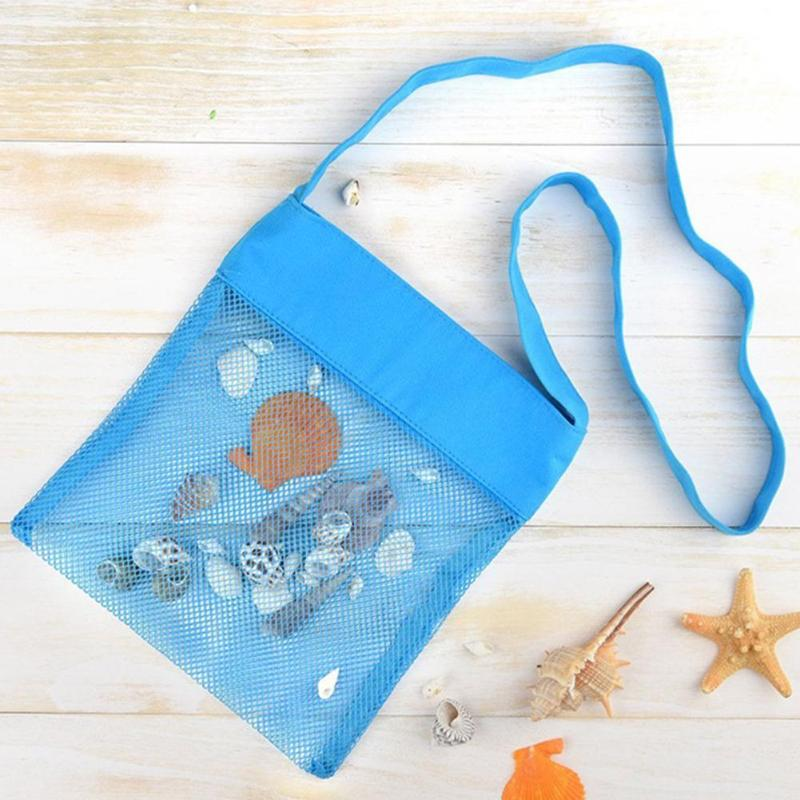 Portable Baby Seaside Oxford Cloth Mesh Storage Bags For Children Beach Sand Toys Net Pure Blue Beach Toys Bags Suitable For Kid
