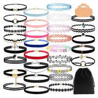 30 pièces velours noir dentelle Chokers colliers ensembles pour adolescentes filles femmes fête cou accessoires henné tatouage ruban Collares de moda