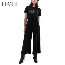 HYH HAOYIHUI 2019 Summer New Women Solid Color Disco Letter Hot Pearl Design T-Shirt concise women s satchel with letter and solid color design
