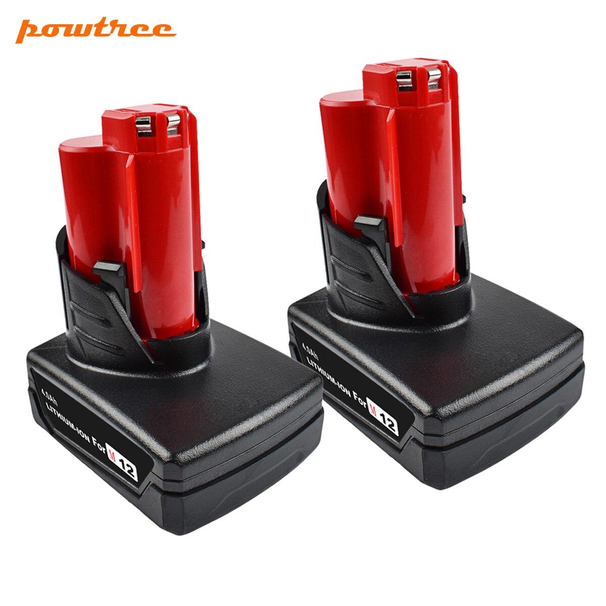 Powtree 6000 mah 12 v pour Milwaukee M12 Puissance Outil Rechargeable Au Lithium Ion Batterie de Remplacement Batterie De Secours L10