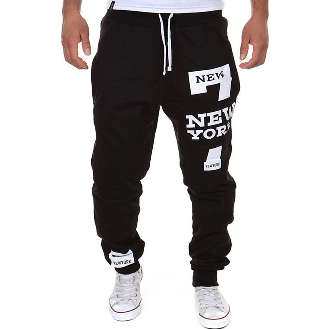 Pants Pocket Fitness-Training-Pants Sports Men Breathable Letter Drawstring Print Natural-Waist