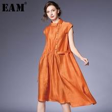 [EAM] 2019 New Autumn Winter Lapel Short Long Sleeve Orange Irregular Drawstring Split Joint Lose Shirt Dress Women Fashion JS48