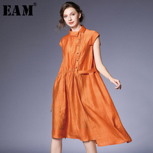[EAM] 2019 nuevo Otoño Invierno solapa corta manga larga naranja Irregular cordón Split Joint Lose Shirt vestido de mujer de moda de JS48