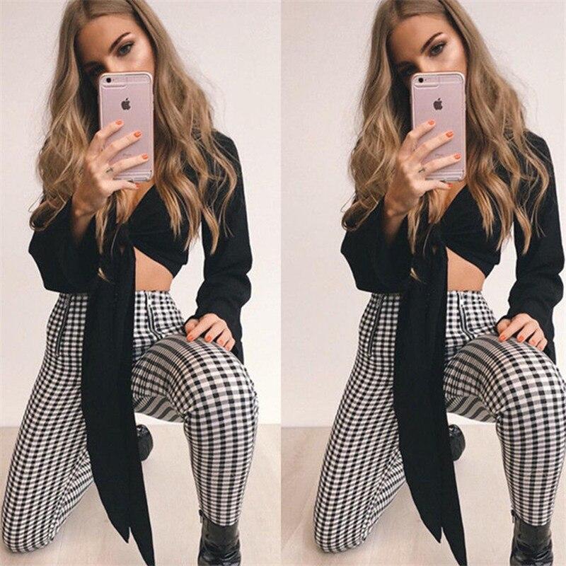 2019 New Brand Fashion US New Women's Pants High Waist Elastic Zipper  Striped Plaid Casual Trousers