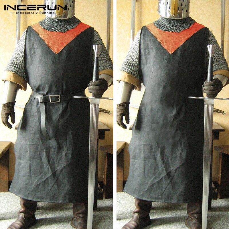 Medieval Adult Men Knight Vikings Warrior Cavalier Tunic Tabard Surcoat Sleeveless Men Long Shirt Renaissance Cosplay Costumes