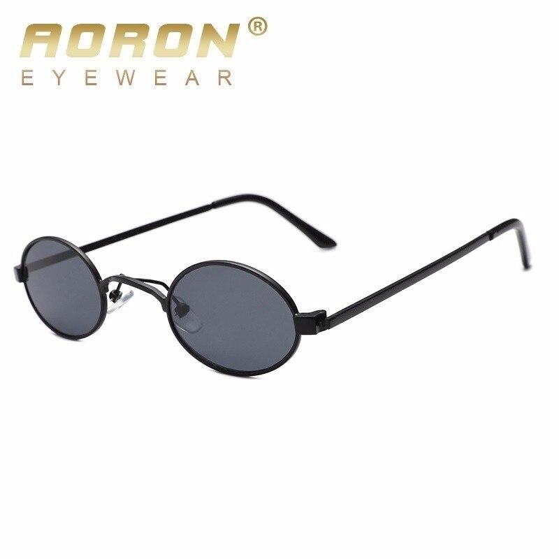 M/änner Damen Runde Metallrahmen Sonnenbrille Brille schwarz Objektiv
