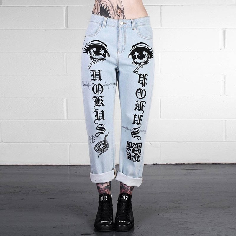 Rosetic Blue   Jeans   Women Harajuku Trendy Gothic Print Streetwear Vintage Denim Pants Spring Young Girl School Casual Trousers