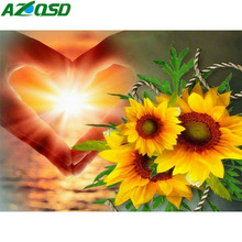 AZQSD Diamond Mosaic Sunflower Scenic Embroidery Handicrafts Needlework Painting Landscape Gift Home Decor