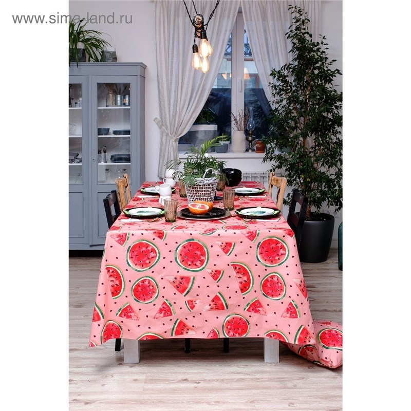 Tablecloth Ethel Watermelons, 150 × 180 cm, репс, pl. 130g/m², 100% cotton decorative pillow case ethel triangles 45x45 cm репс pl 130g m² 100% cotton