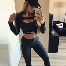 2019 Striped Yoga Suit Long Sleeve Workout Clothes For Women Fashion Letter Sport Leggings Bras Set Fitness Gym Wear