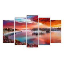 HD Framed 5 Pieces Abstract Art Psychedelic & river Canvas Art Scenery Paintings  For Living Room Home Decoration cheap Shipping
