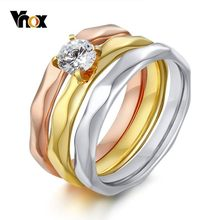 Vnox 3 in 1 Bride Solitaire Wedding Rings Set for Women Stainless Steel with AAA CZ Stone in 585 Rose Gold Color Luxury Jewels(China)
