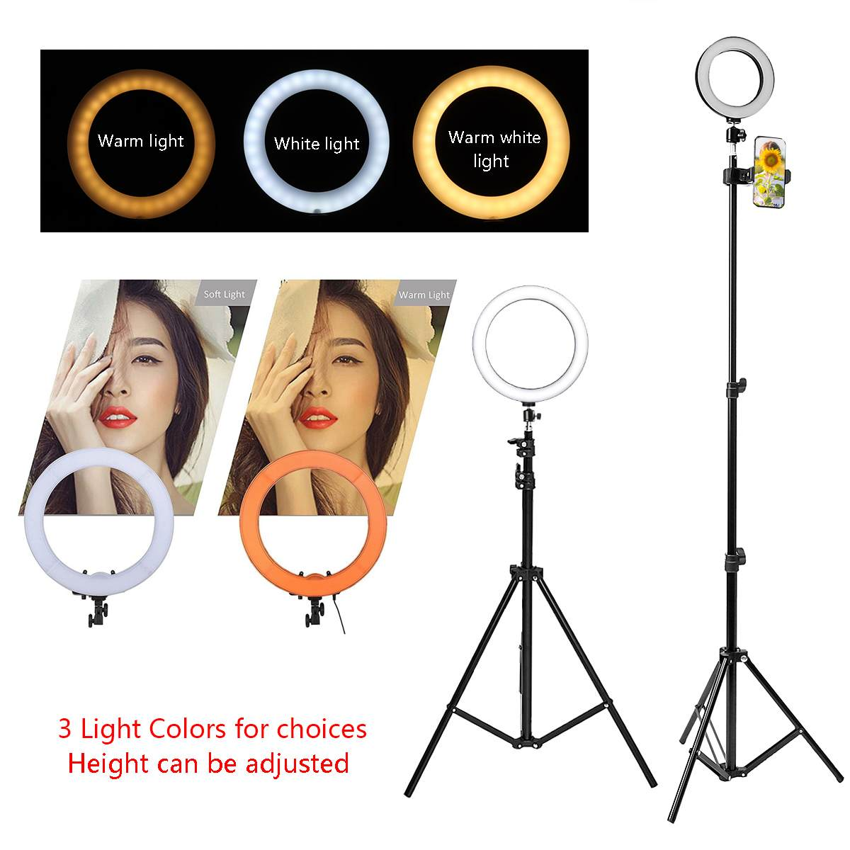 Dedicated Makeup Live Led Ring Lamp Dimmable& Light Stand Kit Phone Photo Selfie Video 12w Warm White Light Compatible Adjustment 20-200mm Be Shrewd In Money Matters Camera & Photo