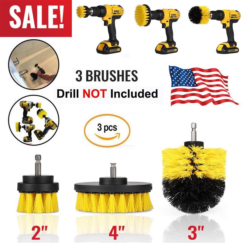 AOZBZ 3Pcs Round Full Electric Bristle Drill Brush Rotary Cleaning Tool Set Scrubber Cleaning Tool Brushes Car Wash Tool