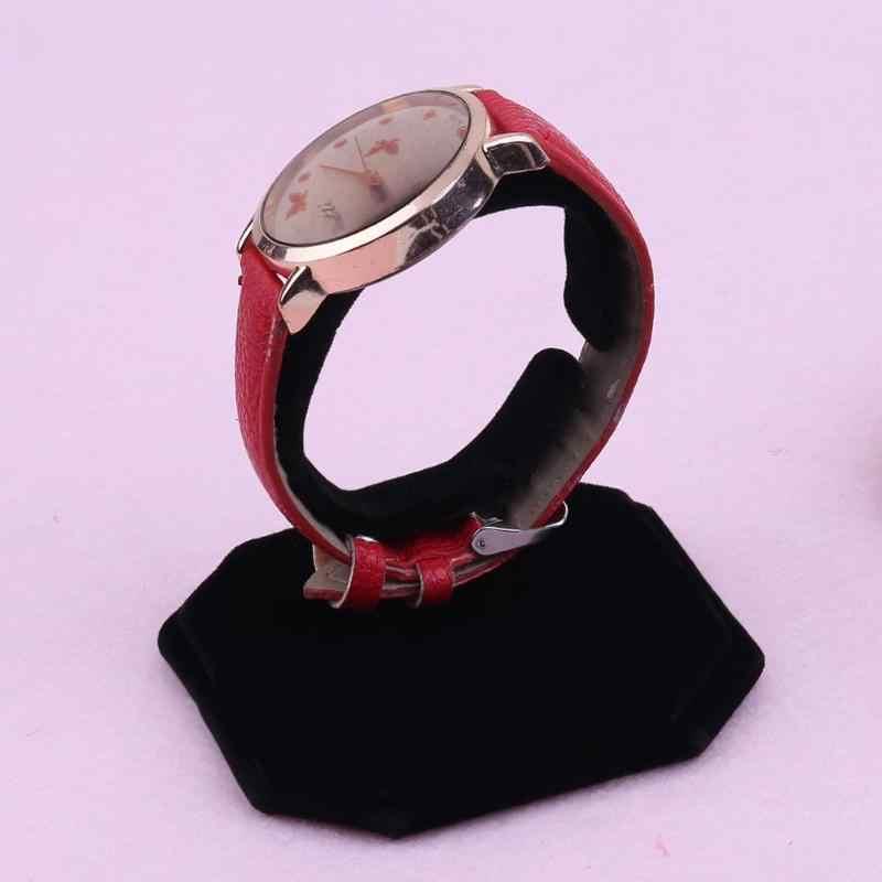 Moda portátil jóias relógio de pulso anel expositor caixa de relógio prateleira lint c tipo design jóias pulseira relógio exibição rack