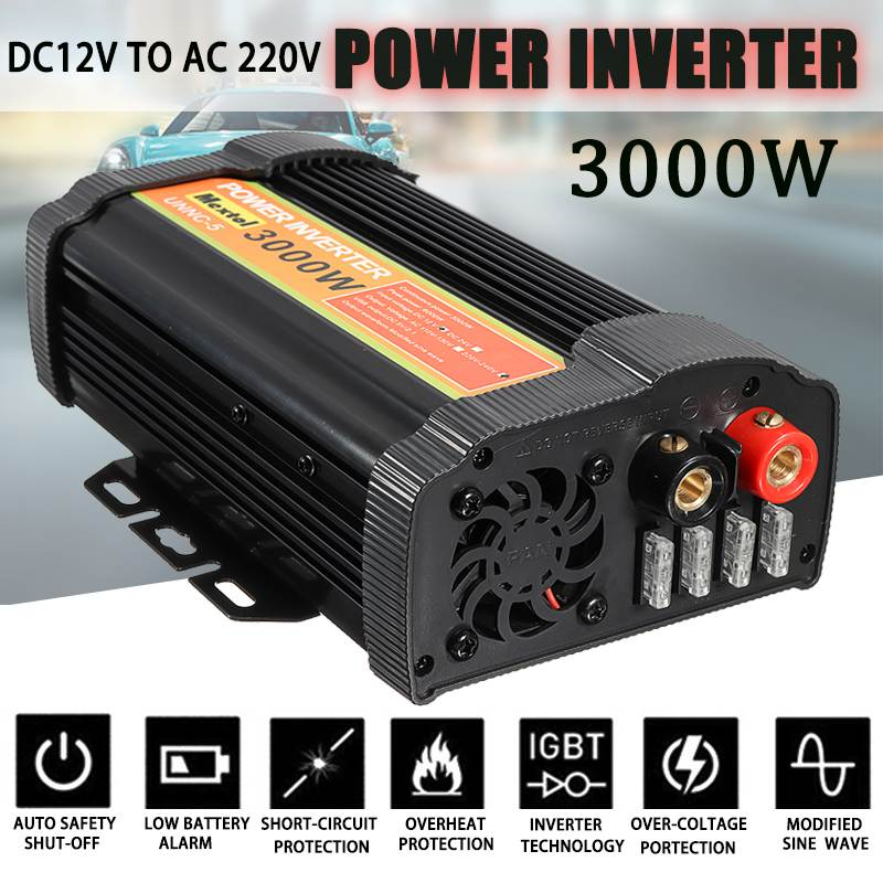 Inverter 3000W 12 V to AC 220 Volt LCD Digital Max 6000 Watt Modified Sine Wave Converter Car Charge Converter Transformer 2 USBInverter 3000W 12 V to AC 220 Volt LCD Digital Max 6000 Watt Modified Sine Wave Converter Car Charge Converter Transformer 2 USB