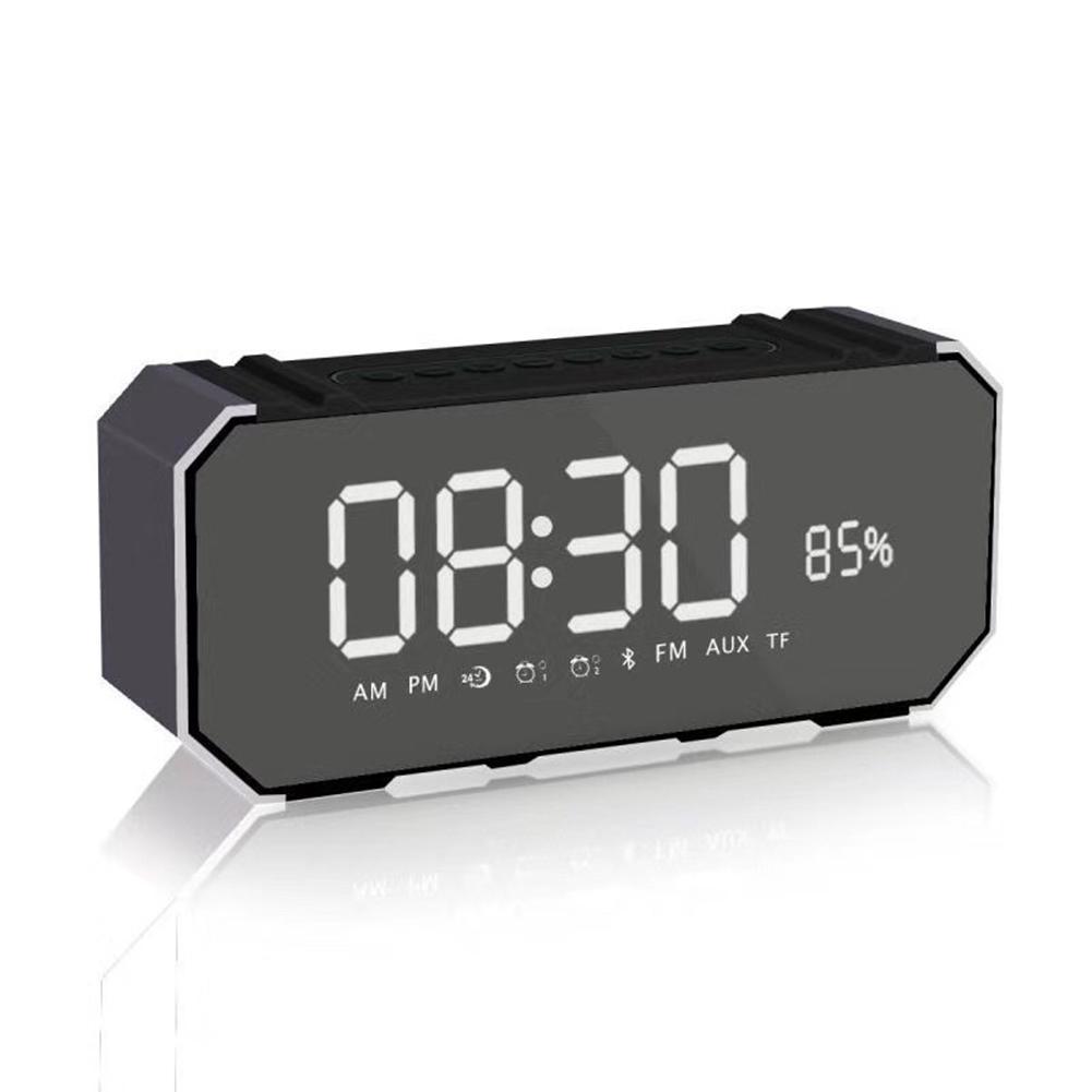 Lautsprecher Warnen Drahtlose Bluetooth Lautsprecher Led Uhr Spiegel Wecker Bass Tragbare Kleine Licht Hohe Sound Qualität Radio Wasserdicht Nicht-slip