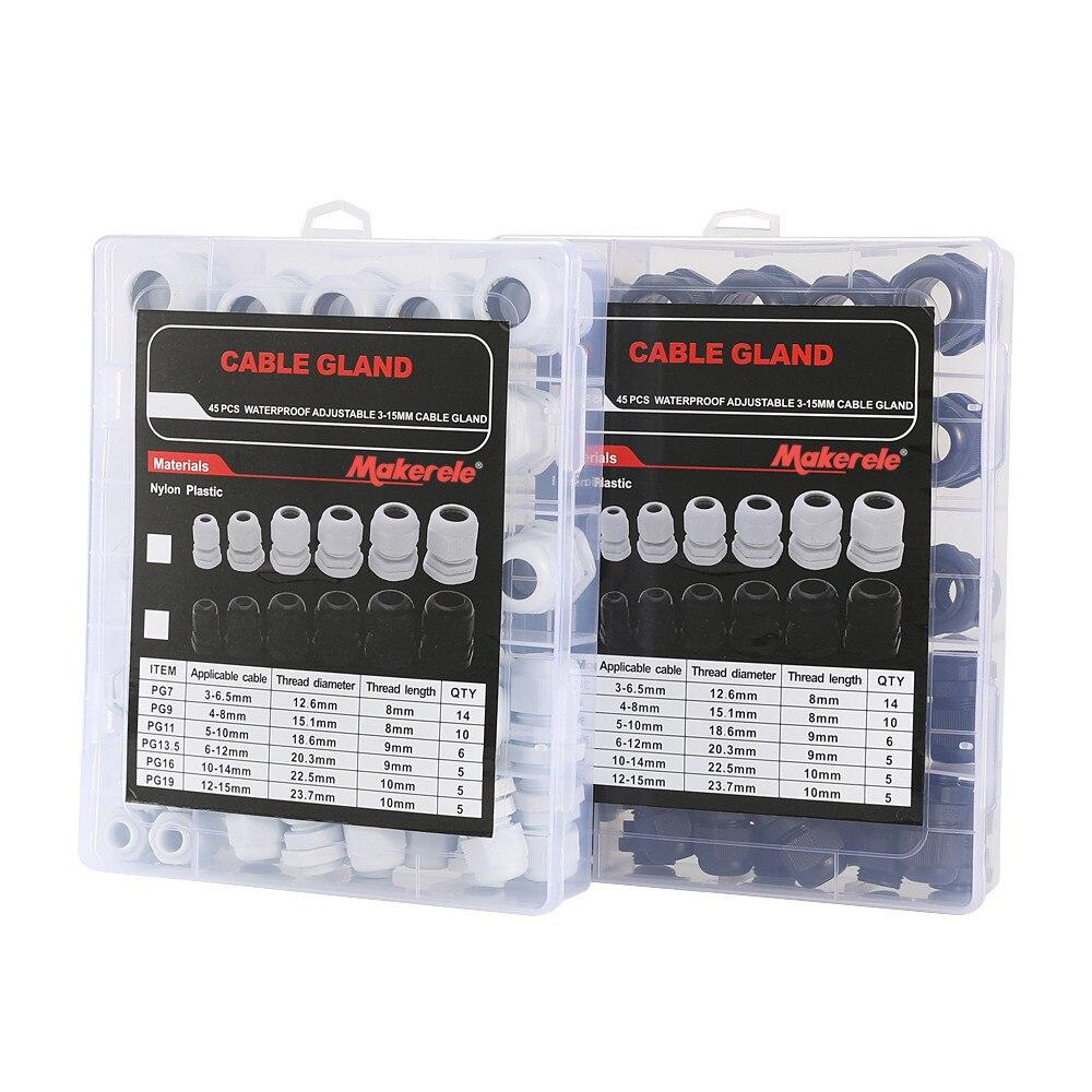 Kit presse-étoupe Makerele en plastique étanche réglable 3-15mm, noir