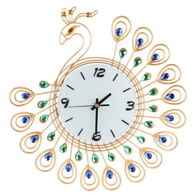 37Cm Luxury Diamond Painting Peacock Large Wall Clocks Metal Living Room Watch Wall Clock Decor Duvar Saati