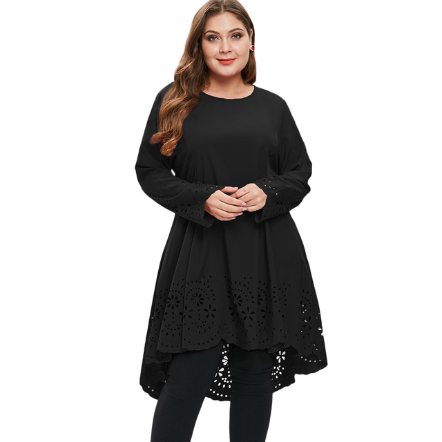Wipalo Women Dress Solid Color O Neck Long Sleeves Laser Cut High Low Dress  Plus Size Women Clothing Casual T-Shirt Dresses 5XL 55e45ed04