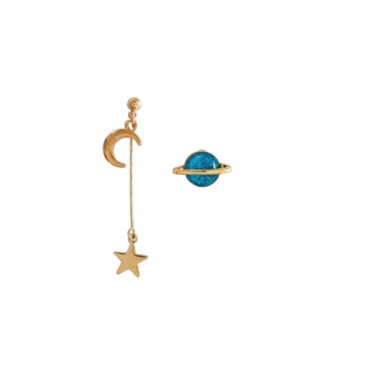 Fashion Jewelry Metal Space Universe Star Moon Planet Earring Women Pendientes Brincos Asymmetric