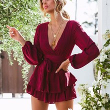 Womens Jumpsuit V Neck Long Sleeve Casual Romper Elegant Sexy Short Playsuit Combinaison Femme Overalls