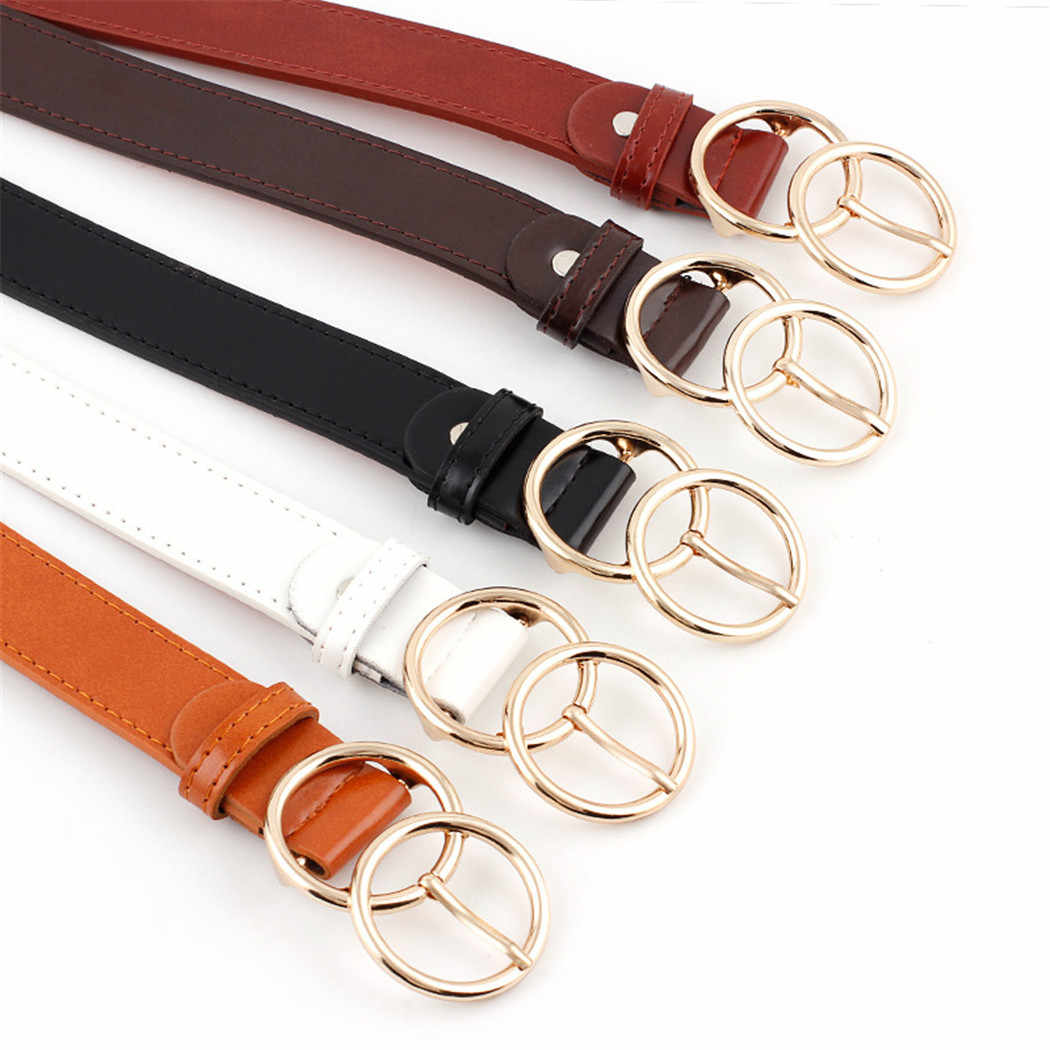 36f8b5eca Fashion Women Double Ring Belt Gold Buckle Waist Belts For Lady Jeans  Skinny Thin Leather Straps