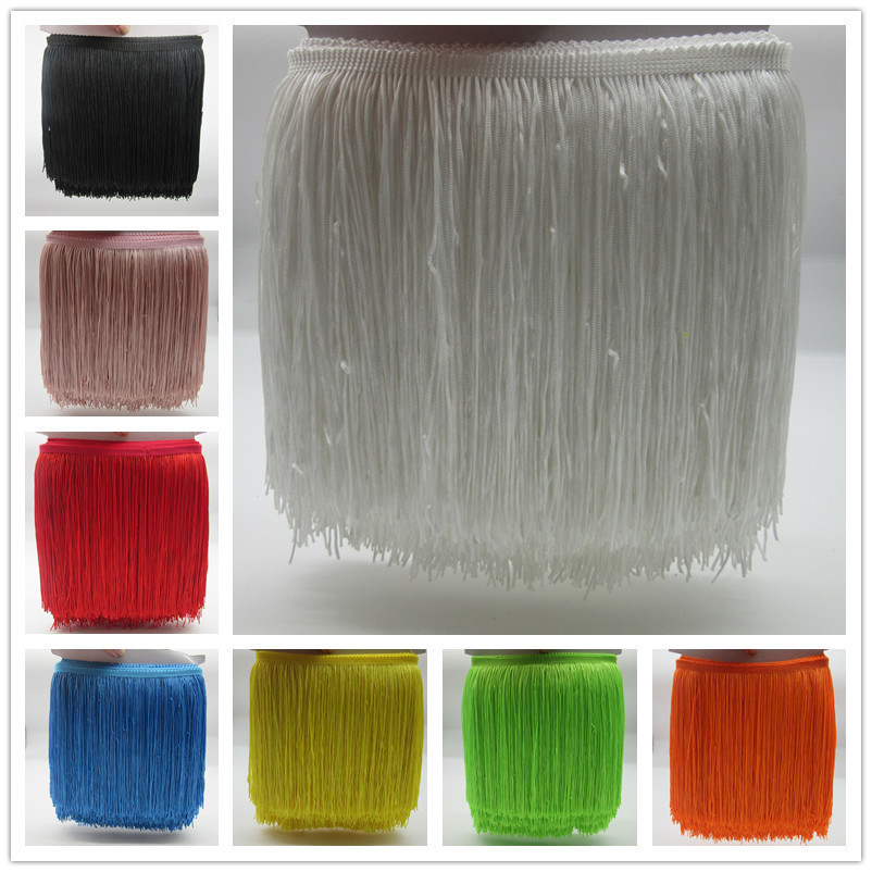 YY-tesco 10Meter/lot 20cm Wide Lace Fringe Trim Tassel Fringe Trimming For DIY Latin Dress Stage Clothes Accessories Lace Ribbon