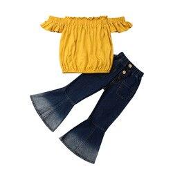 Boutique roupas da menina bonito do miúdo do bebê meninas fora do ombro topos denim queimado calças 2 pçs roupas conjunto