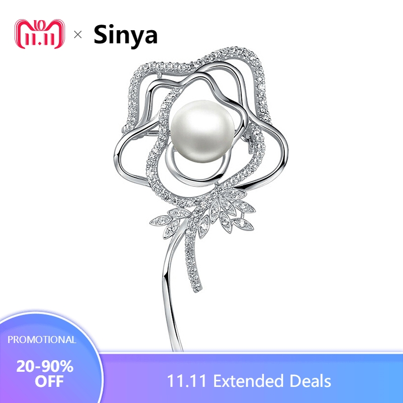 Sinya 925 sterling silver Rose Brooches for women Mother with 10.5-11mm natural pearl Valentine's Day,birthday present HOT